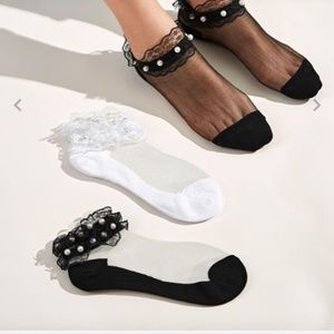 Accessories - 3pairs Faux Pearl Decor Lace Trim Mesh Socks